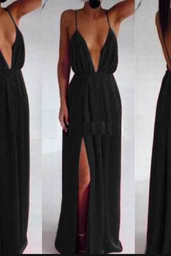 Sexy V Neck Spaghetti Strap Long Dress 3 Color