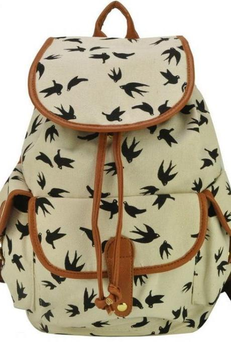 Bird Print White Graphic Canvas Backpack Girl Backpack