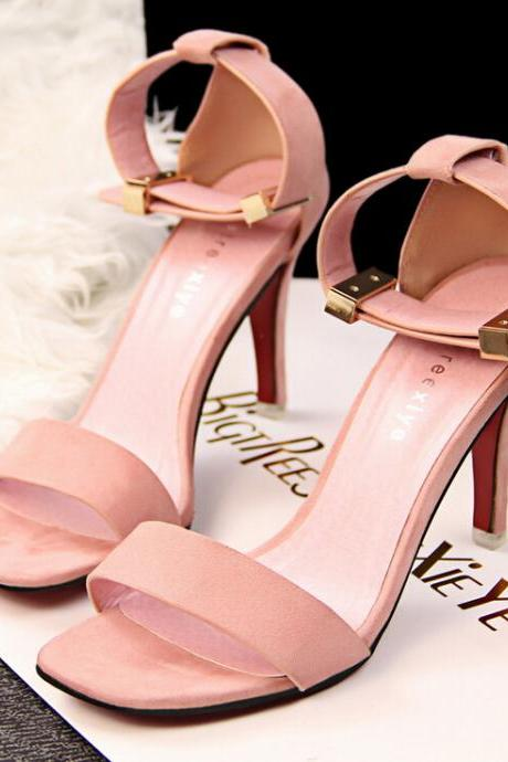 2015 the European and American fashion contracted OL professional metal buckles pink shoes sandals