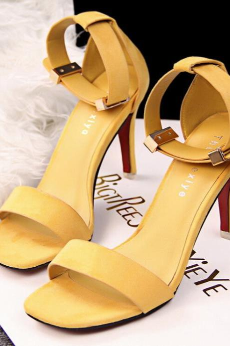 2015 the European and American fashion contracted OL professional metal buckles yellow high heels sandals