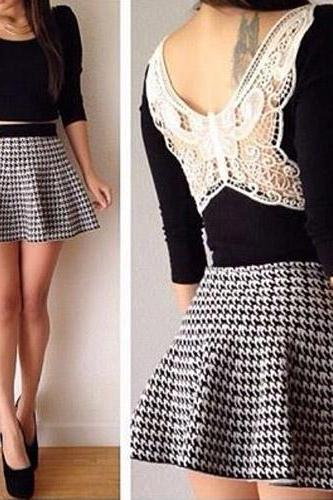Sexy Backless Tops + Houndstooth High Waist Skirt Two-Piece Set