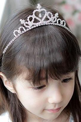 Silver Crowns Tiara Headpiece Princess Tiara for Girls Silver Crystal Stones Tiara Crowns