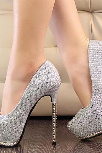 Crystal Embellished Gold Pointed-Toe Platform High Heel Stilettos