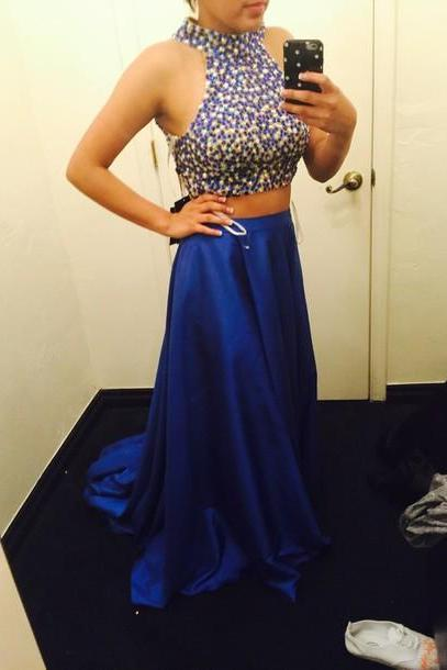 Custom Made 2 Pieces Prom Dresses Bright Royal Blue, Formal Dresses, Evening Dresses, Graduation Dresses, Dress for Prom