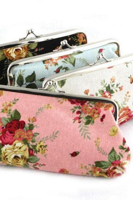 Pink Coin Purse Clutch Printed Floral Wallet for Women