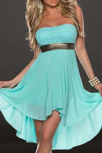 Fashion New Lace and Chiffon Spliced Asymmetric Strapless Dress - Blue