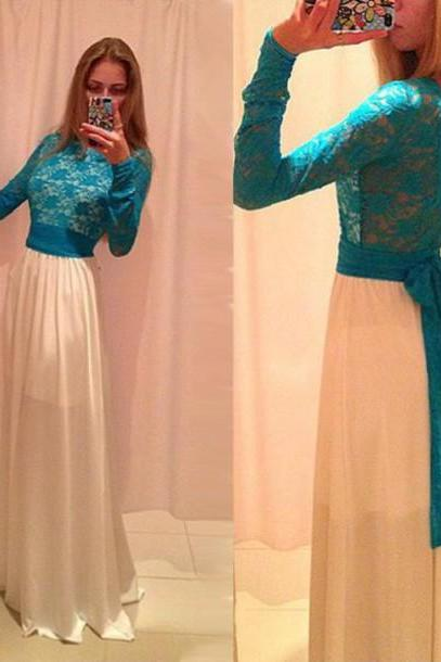Blue lace prom dress, long sleeve prom dress, long prom dress, prom dress, occasion dress, unique prom dress, BD123