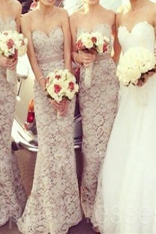 Fantastic Grey Lace Sheath/Column Sweetheart Neckline Sweep Train Bridesmaid Dress Made to Order