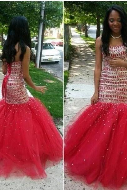 sparkly prom dress, mermaid prom dress, sweet heart prom dress, gorgeous prom dress, beading prom dress, lace up prom dress, BD142