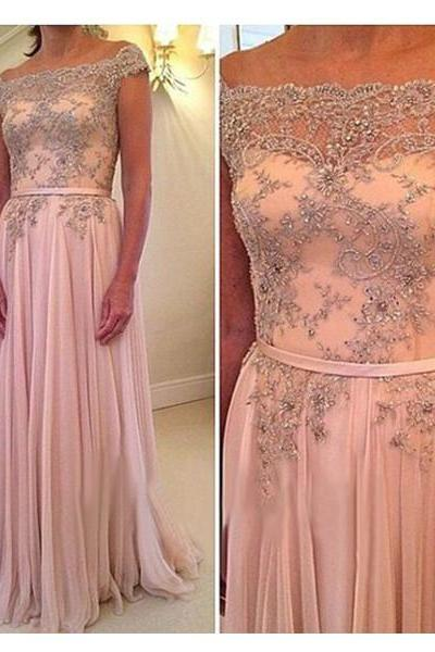 Handmade Embroidery Pink A-line Off-shoulder Neckline Sweep Train Prom Dress with Sash