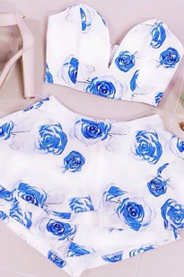 Strapless Blue Floral Printed Two Piece Set