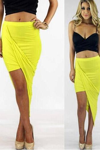 Sexy Wrap Banded Waist Draped Cut Out Asymmetrical Hi Low Skirt S M L YELLOW