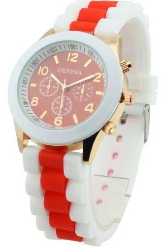 Rubber Sport Fashion Teenage Analog Orange Unisex Watch