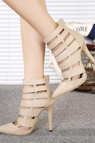Cheap Fashion Pointed Closed Toe Strappy Hollow-Out Stiletto Super High Heel Apricot PU Basic Pumps