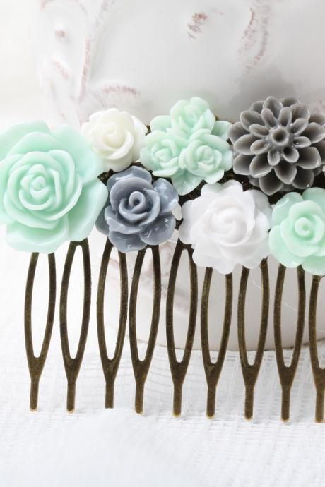Wedding hair comb, Mint and grey flower hair comb, wedding hair accessories, Mint wedding hair comb, flower hair comb