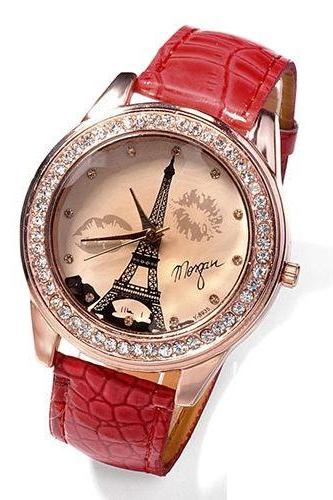 Leather Strap red Fashion Paris Trip Woman Watch