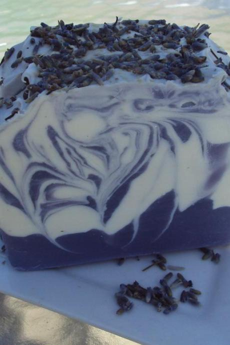 Lavender EO with Shea Butter, Cocoa Butter and Pure Silk Soap Slice / cold process soap
