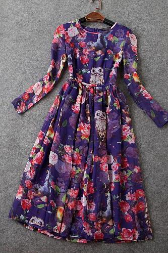 Luxury Owl Floral Dress - Purple