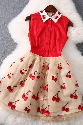 Sweet Embroidery Cherry Dress