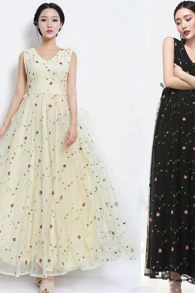 V-neck floral embroidery chiffon dress