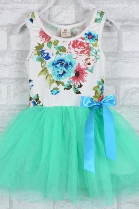 Mint Green Dress Printed Mint Green Floral Dress Kids Mint Green Dress Summer Outfit 12 Months