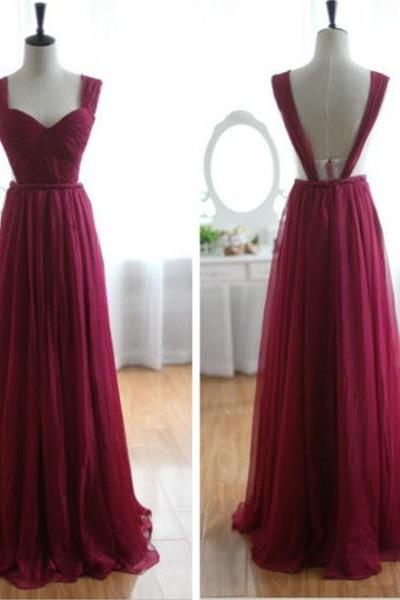 Enhancing Burgundy A-line Straps Neckline Floor Length Prom Dress Handmade