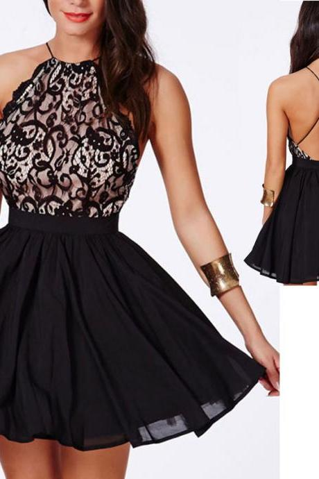 Backless black lace and chiffon short prom dress,sexy cocktail party dress