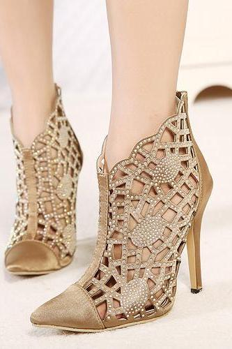 Cheap Fashion Pointed Closed Toe Hollow-Out Rhinestones Embellished Stiletto Super High Heel Khaki PU Basic Pumps
