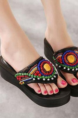 National wind beaded female sandals