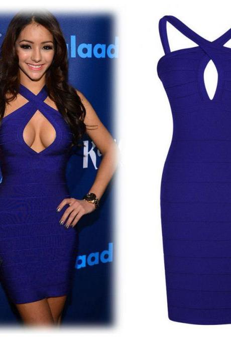 Mini Blue Bodycon Cocktail Evening Party Lady Bandage Dress