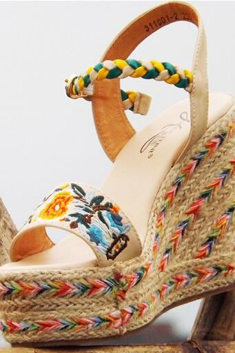 Floral Embroidery Leather Wedge Sandals