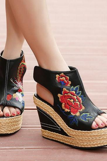 Floral Embroidered Peep-toe Braided Platform Wedge Heels