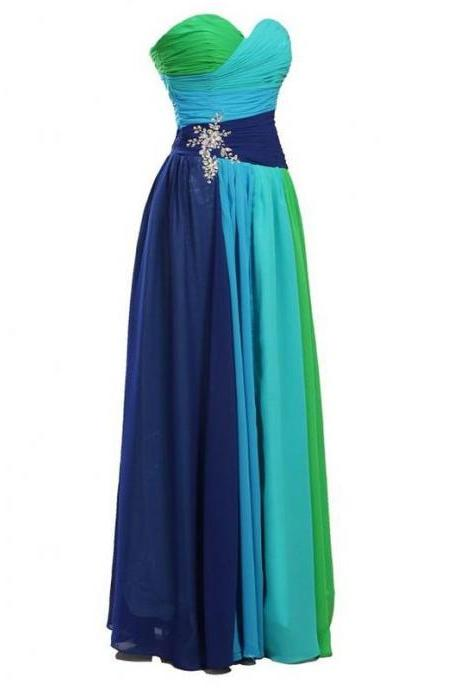 2015 Bridesmaid Dresses Strapless Colorful Rhinestone Chiffon Bridesmaid Evening Party Prom Dress