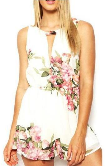 Sexy Floral Round Neck Printed Chiffon Rompers For Lady- White
