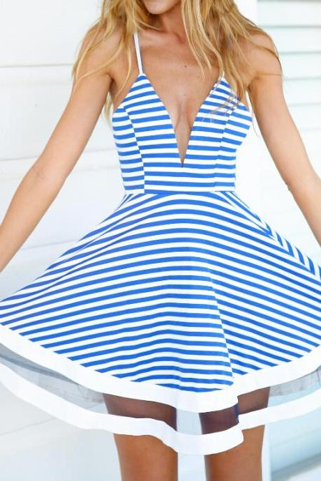 Sweet Striped Harness Dress YX