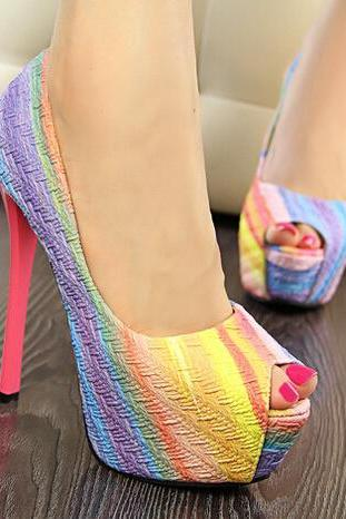 red Rainbow Fish Mouth High-Heeled Shoes