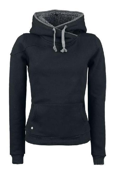 Fashion European Style Solid Color Split Joint Slim Hoodie