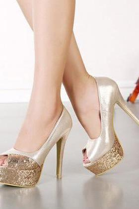 Fabulous Metallic Gold Peep Toe High Heel Fashion Sandals
