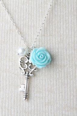 key necklace, blue rose necklace, vintage style short necklace, blue key, shabby chic, bridesmaid necklace, Made in Canada, gift