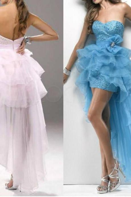 2015 New High Low Formal Bridesmaids Dresses Prom Party Gown Size 2 4 6 8 10 12