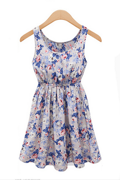 Floral Printed Tie Waist Dress With Pleated YT03