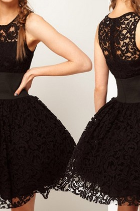 Sleeveless Black Ball Gown Lace Dress VG42609MN