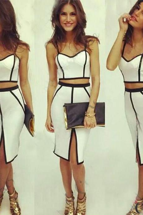 SEXY White Womens Bodycon Slim Fit Bandage Crop Tops And Skirt Dress 2pcs Set
