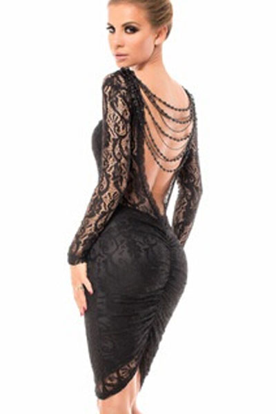 Cheap Sexy O Neck Long Sleeves Backless Lace Hollow-Out Beaded Ruched Black Polyester Sheath Mini Dress