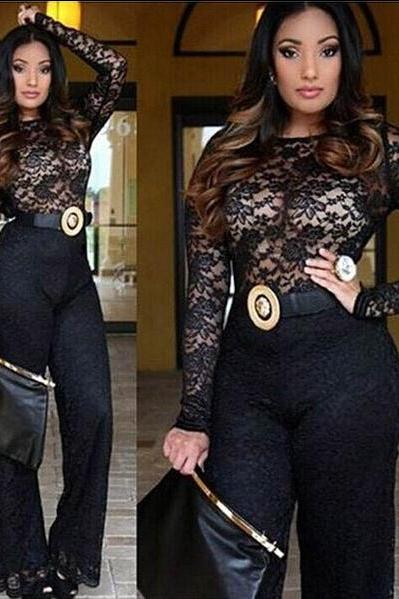 Cheap Sexy Long Sleeves Hollow-Out Solid Blace Lace Regular Jumpsuit