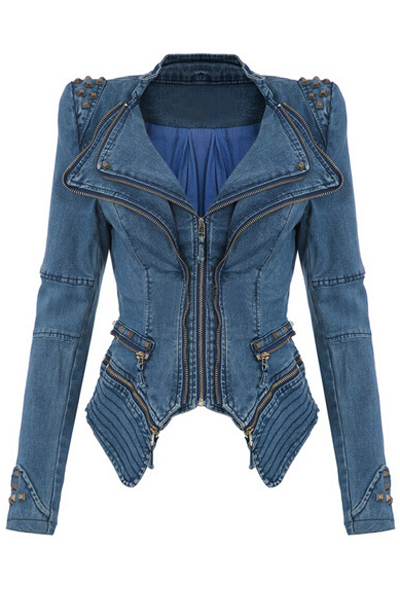 Cheap New Style Turndown Collar Long Sleeves Zipper Design Rivets Decorated Blue Regular Jacket