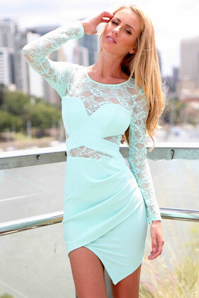Cheap Sexy V Neck Long Sleeves Lace Patchwork Asymmetrical Blue Mini Dress