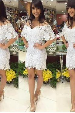 Cheap Sexy V Neck Off The Shoulder Short Sleeves White Sheath Mini Bodycon Dress