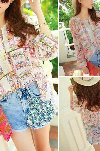 Fashion Floral Print Chiffon Shirt + Beaded Denim Shorts Two-Piece Set
