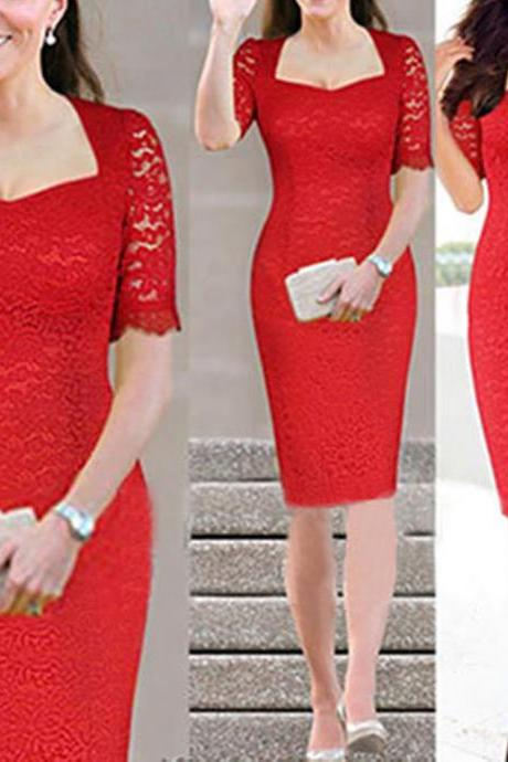 Women's Short Sleeve Lace Slim Cocktail Party Evening Tunic Bodycon Pencil Dress